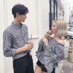 2021 Çift Kombinleri Siyah Piti Kare Desenli Gömlek ve Siyah Omzu Açık Fırfırlı Kol Gömlek
