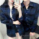 2021 Çift Kombinleri Siyah Uzun Kollu Ekose Desenli Gömlek