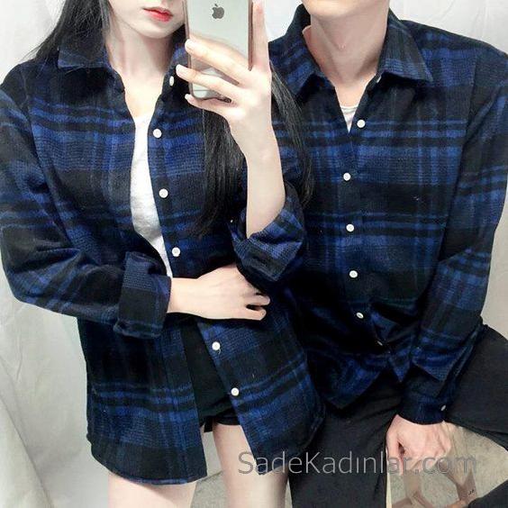 09ac2fad416af 2019 Çift Kombinleri Siyah Uzun Kollu Ekose Desenli Gömlek · «