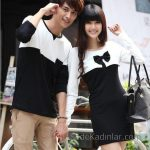 2021 Çift Kombinleri Siyah ve Beyaz Tişört ve Kısa Elbise
