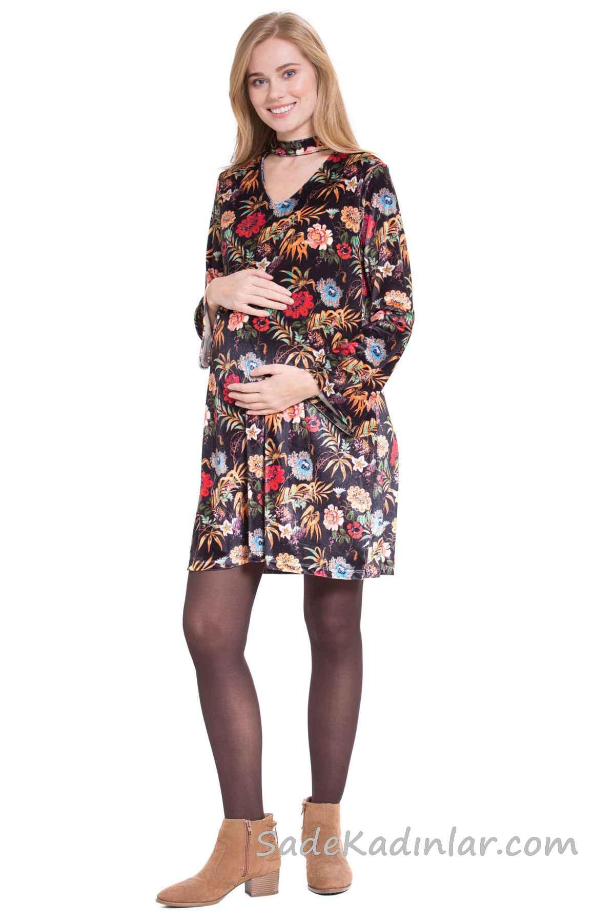 Hamile Elbiseleri Siyah Kısa Uzun Kollu V Yakalı Desenli