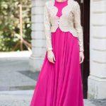 Tesettür Abiye Elbise Modelleri Fuşya Uzun Kloş Etekli Üst Kısmı Gold Ceket Görünümlü