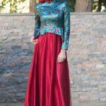 Tesettür Abiye Elbise Modelleri Kırmızı ve Yeşil İki Renkli Kloş Etekli