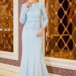 Tesettür Abiye Elbise Modelleri Mavi Uzun Üst Kısmı Komple Boncuk İşlemeli