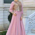 Tesettür Abiye Elbise Modelleri Pudra Uzun Kloş Tül Etekli Gold Güpür Dantelli