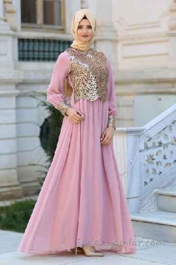 730aaf2c5b079 Tesettür Abiye Elbise Modelleri Pudra Uzun Kloş Tül Etekli Gold Güpür  Dantelli. «