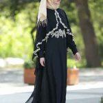 Tesettür Abiye Elbise Modelleri Siyah Uzun Dantel Detaylı Pelerin Tüllü