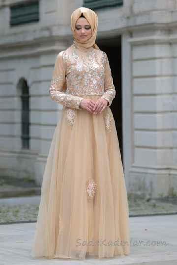 14810cc611fde Tesettür Abiye Elbise Modelleri Somon Uzun Etekleri Tüllü Nakış İşlemeli. «