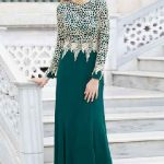 Tesettür Abiye Elbise Modelleri Yeşil Uzun Güpür Dantel Detaylı