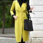 Tesettür Kombin Şık ve Uyumlu En Güzel Kombinler Siyah Pantolon Sarı Uzun Kap
