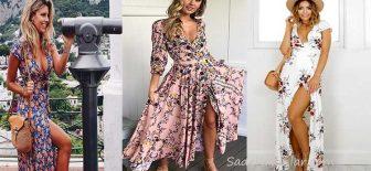 Uzun Çiçekli Elbise Modelleri 2018 Yaz Modası