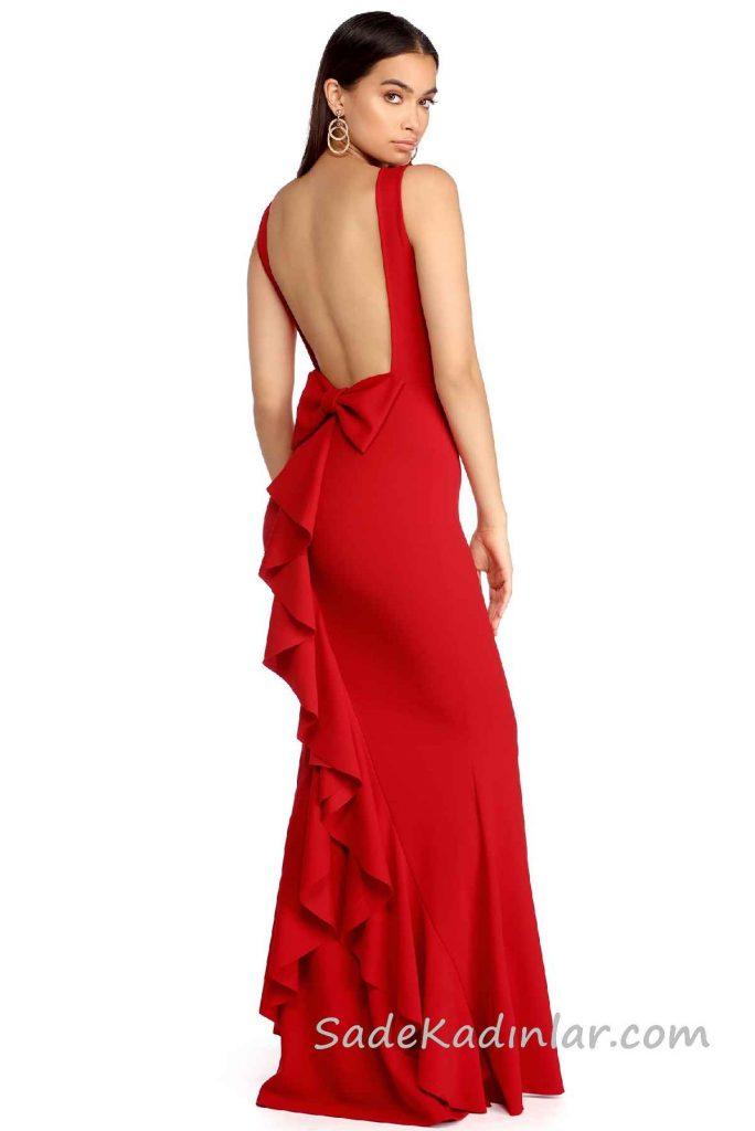 2018 Abiye Elbise Modelleri Kırmızı Uzun Kolsuz Sırt Dekolteli Fiyonk Detaylı