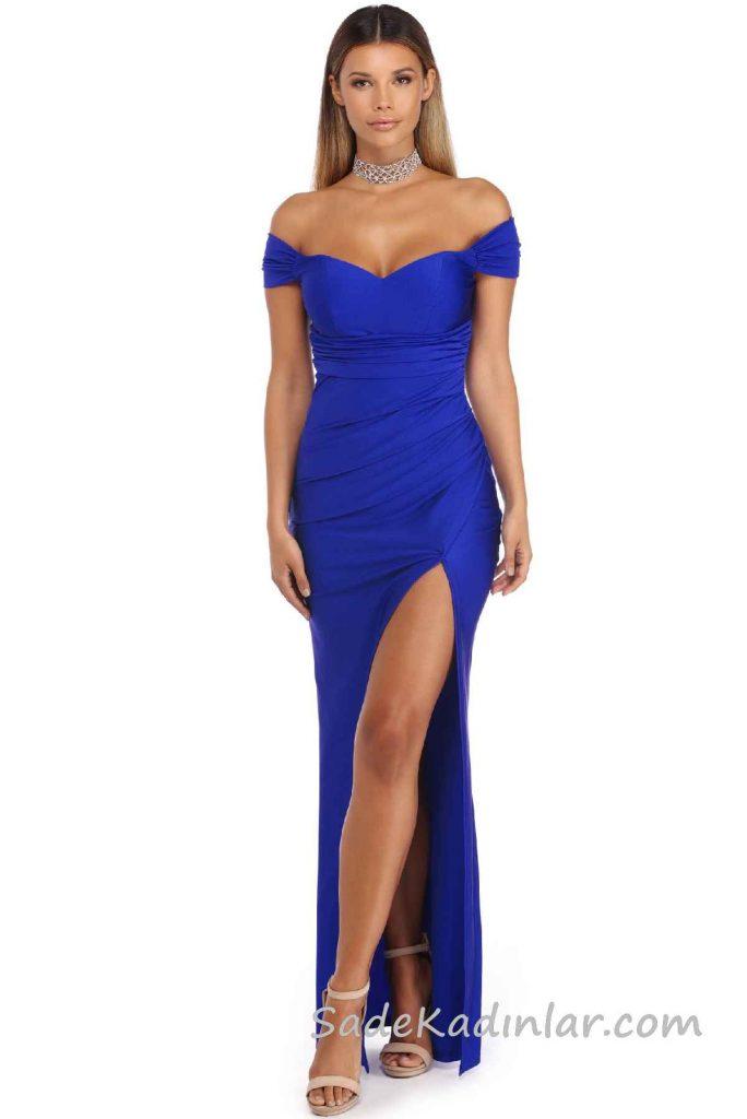 2018 Abiye Elbise Modelleri Saks Mavi Uzun Kapalı Omuz Derin Yırtmaçlı
