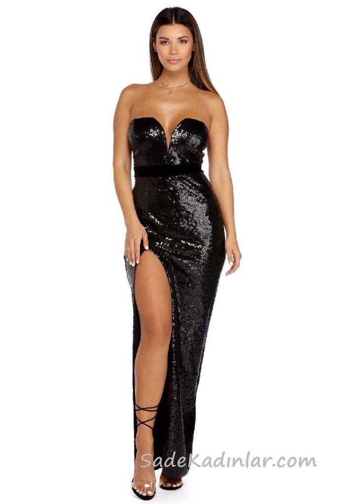 2018 Abiye Elbise Modelleri Siyah Omzu Açık Göğüs Dekolteli Pul Payetli