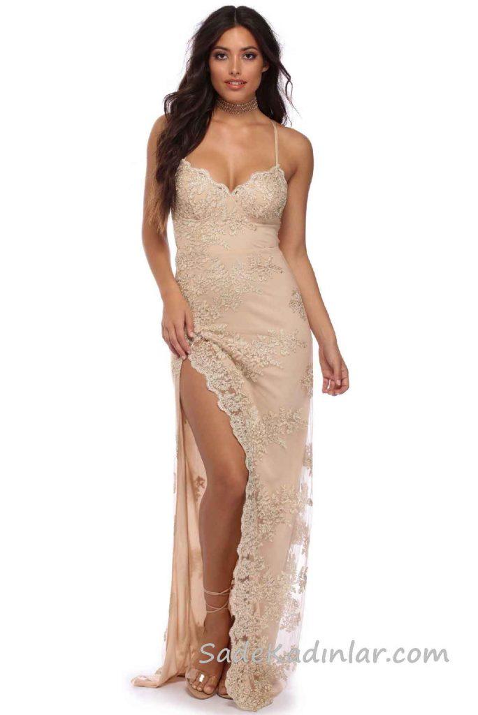 2018 Abiye Elbise Modelleri Somon Uzun İp Askılı Yırtmaçlı Güpür Dantelli