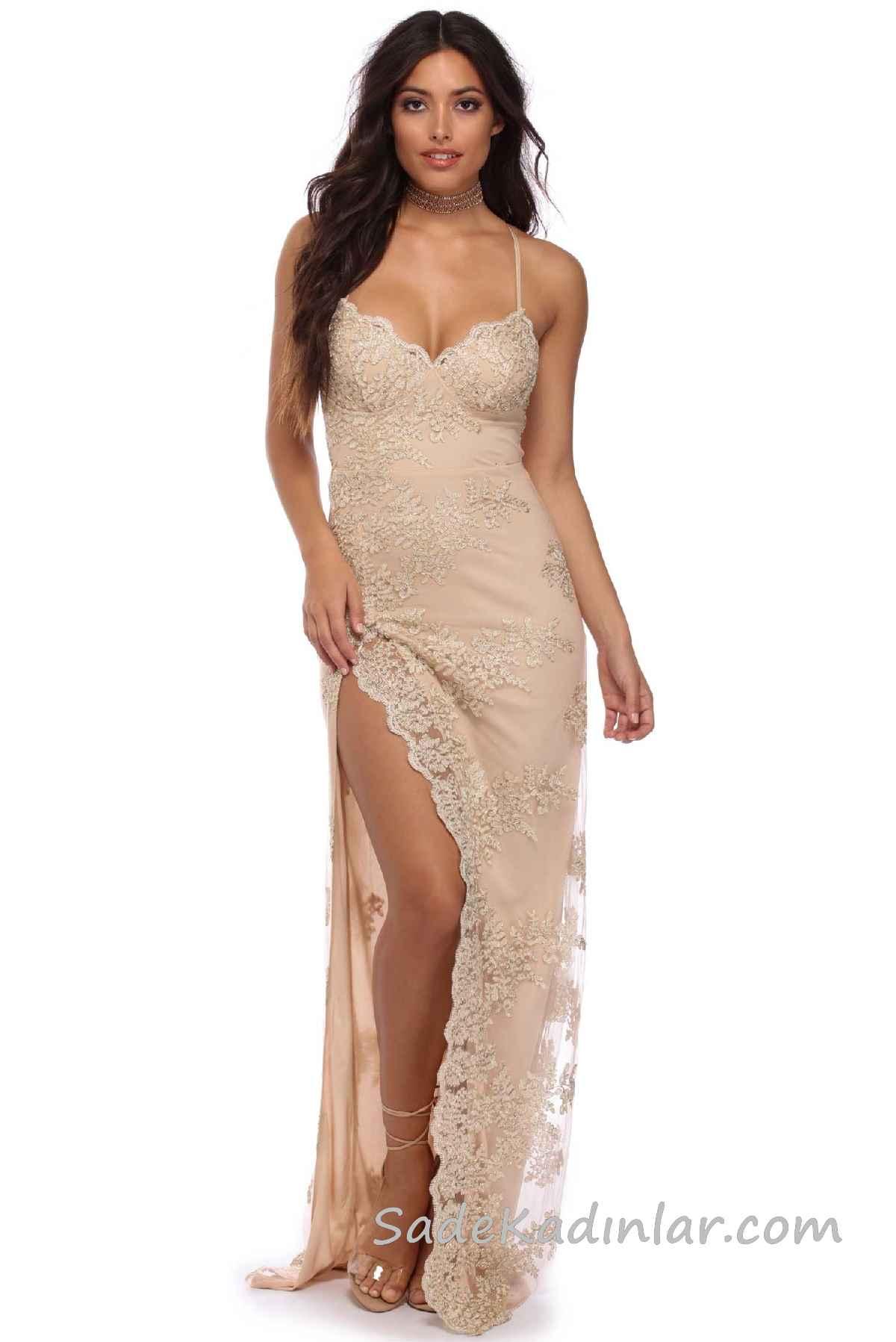 6bca69e516a48 2018 Abiye Elbise Modelleri Somon Uzun İp Askılı Yırtmaçlı Güpür Dantelli