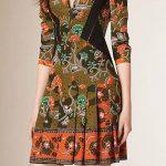 2020 Yazlık Kısa Elbise Modelleri Haki Kısa Yetim Kol Etekleri Pileli Desenli