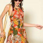 2020 Yazlık Kısa Elbise Modelleri Turuncu kısa İp Askılı Desenli