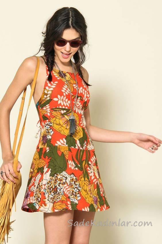 2018 Yazlık Elbise Modelleri Turuncu kısa İp Askılı Desenli
