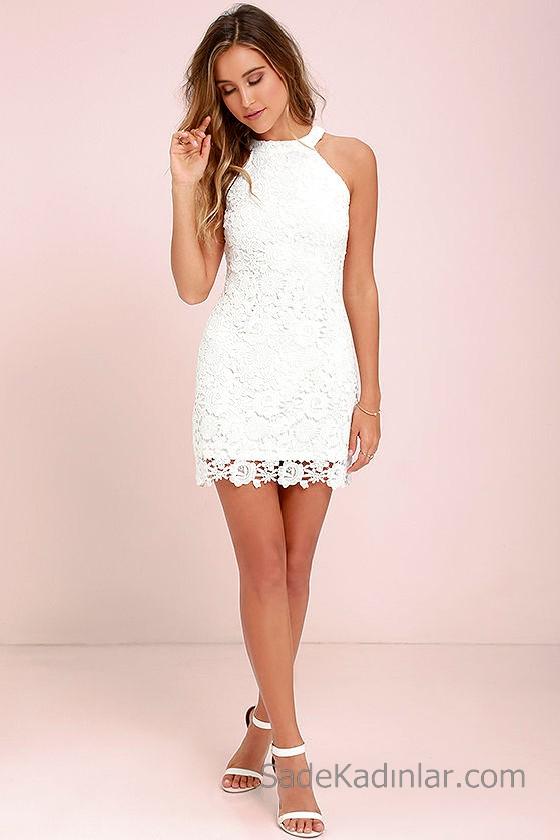 Abiye Modelleri 2018 2019 Gece Elbiseleri Göz Alıcı Kıyafetler Beyaz Halter Yaka Dantel Elbise