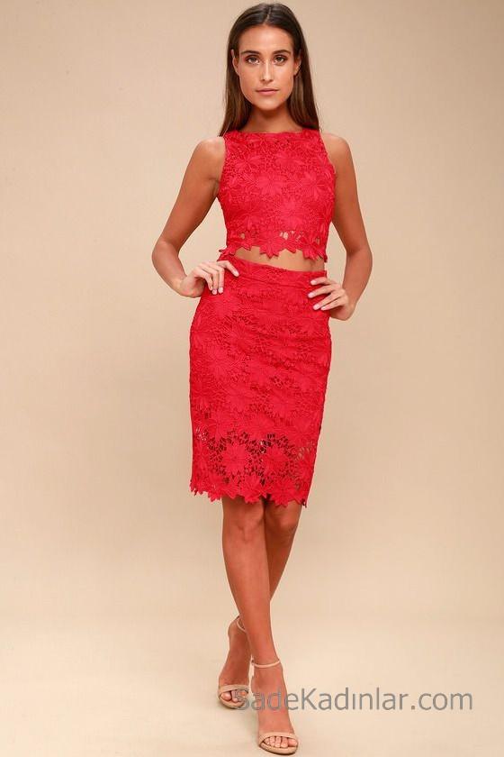 Abiye Modelleri 2018 2019 Gece Elbiseleri Göz Alıcı Kıyafetler Kırmızı İki Parça Kolsuz Dantel Elbise