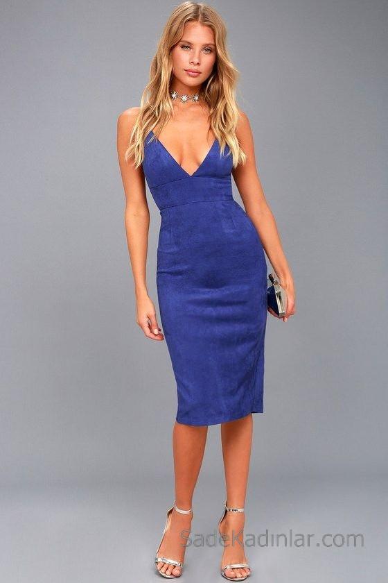 Abiye Modelleri 2018 2019 Gece Elbiseleri Göz Alıcı Kıyafetler Midi Elbise Mavi Süet Göğüs Dekolteli