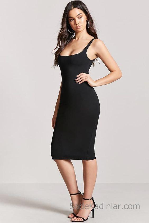 Abiye Modelleri ve 2020 Gece Elbiseleri Göz Alıcı Kıyafetler Omzu Açık Göğüs Dekolteli Midi Elbise