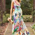 Hamile Elbiseleri Karışık Renkli Uzun Kalın Askılı V Yakalı
