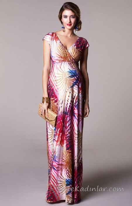 f5f0bc0d6850e Hamile Elbiseleri Karışık Renkli V Yakalı Kısa Kollu Desenli ...