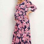 Hamile Elbiseleri Lacivert Uzun V Yakalı Pembe Çiçek Desenli