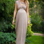 Hamile Elbiseleri Vizon Uzun Derin V Yakalı Kolsuz Sade