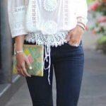 2020 Bayan Kot Pantolon Kombinleri Lacivert Pantolon Beyaz Omzu Açık Güpürlü Gömlek