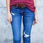 2020 Bayan Kot Pantolon Kombinleri Lacivert Pantolon Bordo Kısa Kollu Tişört