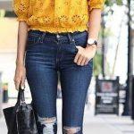 2020 Bayan Kot Pantolon Kombinleri Lacivert Yırtık Pantolon Sarı Omzu Açık Delikişi Gömlek