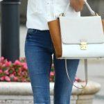 2020 Bayan Kot Pantolon Kombinleri Mavi Pantolon Beyaz Bağcıklı Gömlek