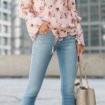 2020 Bayan Kot Pantolon Kombinleri Mavi Pantolon Pembe Omzu Açık Desenli Bluz