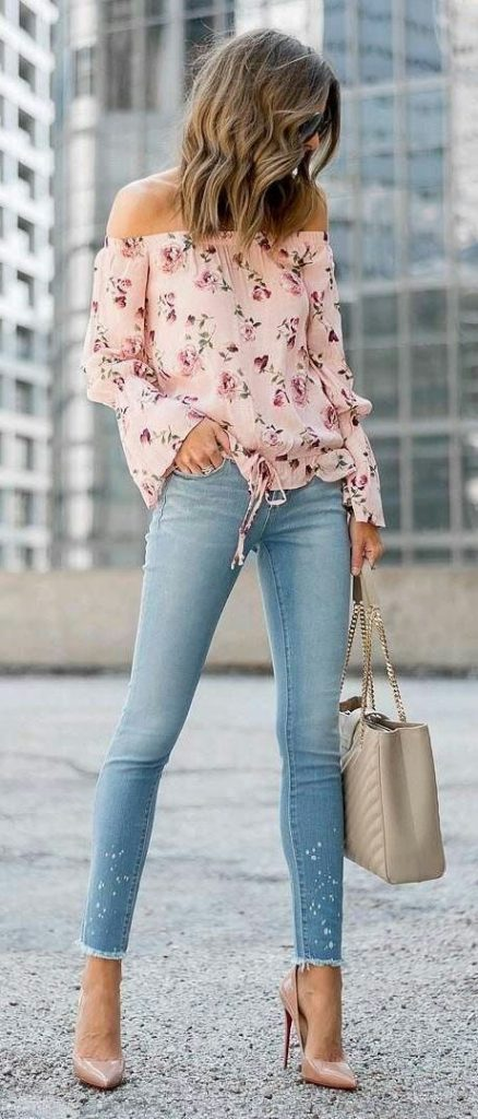 Kot Pantolon Kombinleri Mavi Pantolon Pembe Omzu Açık Desenli Bluz