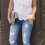 2020 Bayan Kot Pantolon Kombinleri Mavi Yırtık Pantolon Beyaz Tek Omzu Açık İşlemeli Bluz
