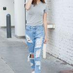 2020 Bayan Kot Pantolon Kombinleri Mavi Yırtık Pantolon Gri Kısa Kollu Spor Tişört