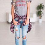 2020 Bayan Kot Pantolon Kombinleri Mavi Yırtık Pantolon Gri Kısa Kollu Tişört