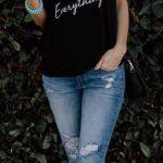 2020 Bayan Kot Pantolon Kombinleri Mavi Yırtık Pantolon Siyah Tek Omzu Açık Tişört