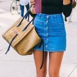 Mini Etek Kombinleri Mavi Kot Etek Siyah Omzu Açık Uzun Kollu Bluz