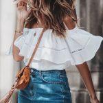 Mini Etek Kombinleri Mavi Yırtık Etek Beyaz Omzu Açık Fırfırlı Yaka Gömlek