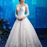 Prenses Model Gelinlik 2020 Transparan Yakalı Uzun Kollu Dantelli