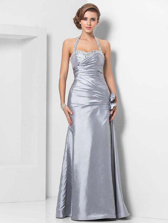 2020 Saten Elbise Modelleri Gri Uzun Boyundan Askılı İşlemeli