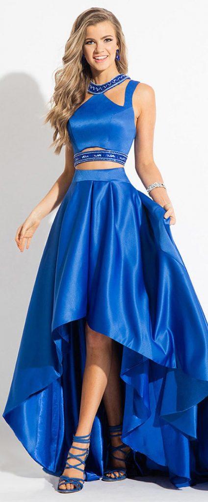 Saten Elbise Modelleri Saks MAvi Uzun Göbek Açık Asimetrik Kesim