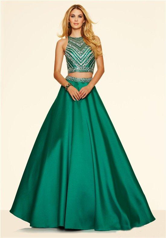 Saten Elbise Modelleri Yeşil Uzun İki Parça Kolsuz Üstü Boncuk İşlemeli