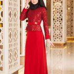 Tesettür Abiye Elbise Kırmızı Uzun Üst Kısmı Boncuk İşlemeli