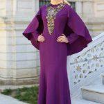 Tesettür Abiye Elbise Mor Uzun Nakış İşlemeli Pelerin Detaylı