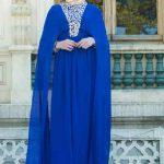 Tesettür Abiye Elbise Saks Mavisi Uzun Pelerinli Nakış İşlemeli